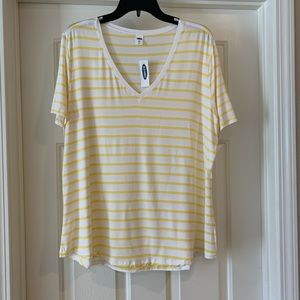 NWT Old Navy Luxe Yellow Striped Top